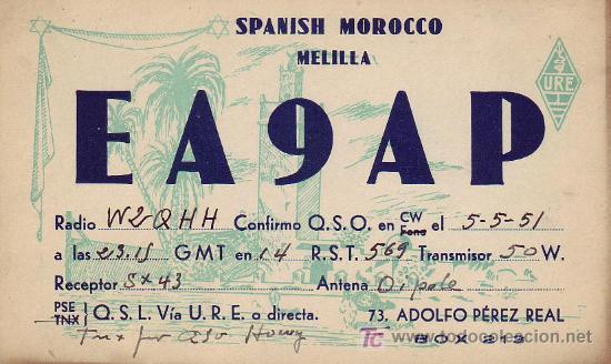 BONITA Y RARA TARJETA RADIO CIRCULADA 1951 DE MELILLA A ESTADOS UNIDOS. MPM. (Sellos - España - Tarjetas)