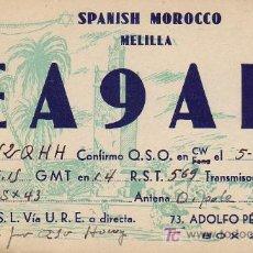 Sellos: BONITA Y RARA TARJETA RADIO CIRCULADA 1951 DE MELILLA A ESTADOS UNIDOS. MPM.. Lote 26115166