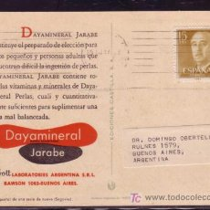 Sellos: TARJETA POSTAL DE PROPAGANDA LAB. ABBOTT ENVIADA EN 1957 DE ZARAGOZA A BUENOS AIRES. Lote 21899883