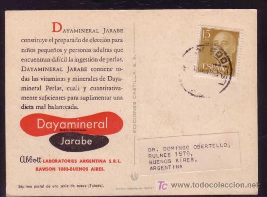8458f47e5667b TARJETA POSTAL DE PROPAGANDA LAB. ABBOTT ENVIADA EN 1957 DE TOLEDO A BUENOS  AIRES (