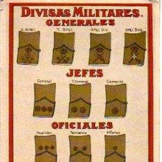 Sellos: TARJETA POSTAL DE DIVISA MILITARES GENERALES. Lote 18223977