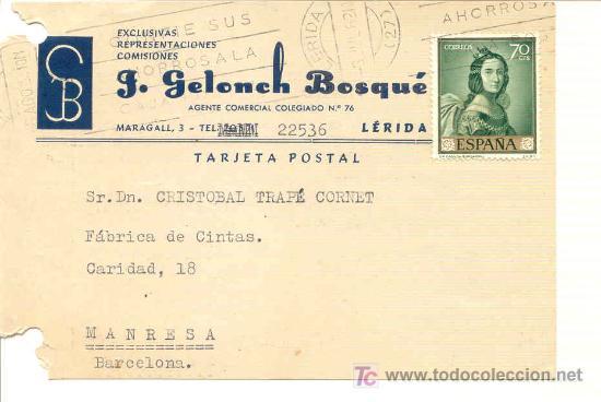 TARJETA COMERCIAL DE G.GELONCJ DE LLEIDA 1962-TEJIDOS TEXTIL (Sellos - España - Tarjetas)