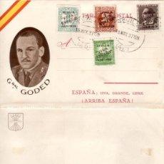 Stamps - TARJETA POSTAL CON LA EFIGIE DEL GENERAL GODED Y FRANQUEADA CON 4 SELLOS PATRIOTICOS DE SEVILLA - 106657560