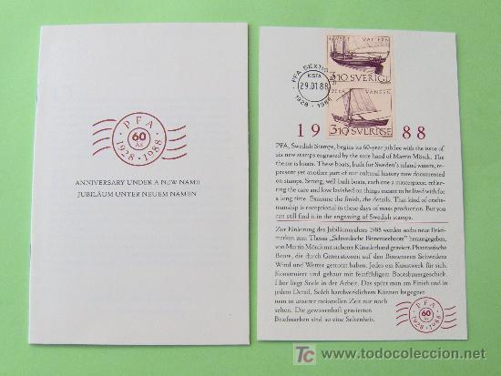 LIBRITO COMMEMORATIVO DE LOS 60 AÑOS DEL CORREO SUECO. (Sellos - Extranjero - Tarjetas)