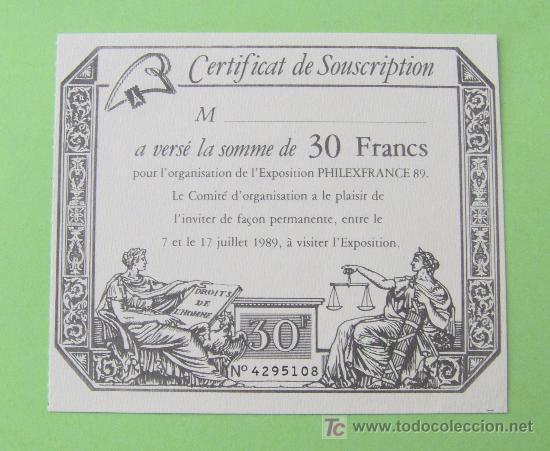 INVITACIÓN PARA VISITAR LA EXPOSICIÓN PHILEXFRANCE 89. (Sellos - Extranjero - Tarjetas)