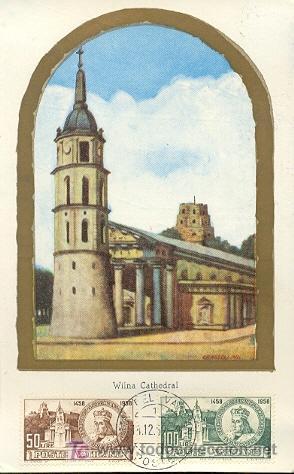 VATICANO - ARQUITECTURA - CATEDRAL DE WILNA. MATASELLOS DEL 1-12-1959 (Sellos - Extranjero - Tarjetas Máximas)