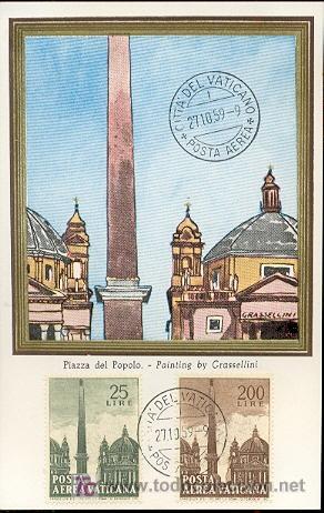 VATICANO - ARQUITECTURA - OBELISCOS. PIAZZA DEL POPOLO. MATASELLOS DEL 27-10-1959 (Sellos - Extranjero - Tarjetas Máximas)