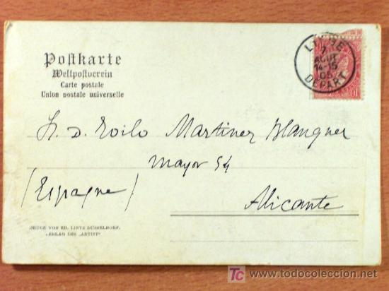 TARJETA POSTAL CIRCULADA DE BELGICA A ALICANTE (ESPAÑA) - AÑO 1905 - SELLO 10 CENT. (Sellos - Extranjero - Tarjetas)