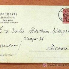 Sellos: TARJETA POSTAL CIRCULADA DE BELGICA A ALICANTE (ESPAÑA) - AÑO 1905 - SELLO 10 CENT.. Lote 25108222