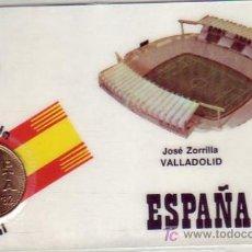 Francobolli: FUTBOL ESTADIO JOSE ZORRILLA VALLADOLID MUNDIAL ESPAÑA 1982 RARA TARJETA PLASTIFICADA CON MONEDA MPM. Lote 15943175