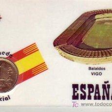 Sellos: FUTBOL ESTADIO DE BALAIDOS VIGO (PONTEVEDRA) MUNDIAL 1982 RARA TARJETA PLASTIFICADA CON MONEDA. MPM. Lote 27481181