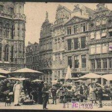 Sellos: BRUXELLES - LA GRAND PLACE. LE MARCHE AUX FLEURS. BRUSELAS - BELGICA. 1908. Lote 12846580