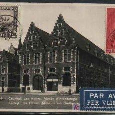 Sellos: COURTRAI. LES HALIES. MUSEE D'ARCHEOLOGIE. BELGICA. 1933. ESCRITA Y CIRCULADA DE BELGICA A ESPAÑA . Lote 24835227