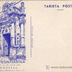 Sellos: RELIGION IGLESIA PARROQUIAL RARA TARJETA PARA II EXPOSICION FILATELICA DE VENDRELL (TARRAGONA) 1951.. Lote 6299047