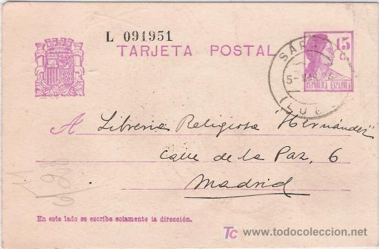 TARJETA POSTAL DE SARRIA (LUGO) A MADRID (Sellos - España - Tarjetas)