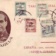 Stamps - TARJETA PATRIOTICA GENERAL VARELA 1937, FRANQUEADA CON SELLOS E.L.P. MALAGA Y PRO MALAGA - 26490319