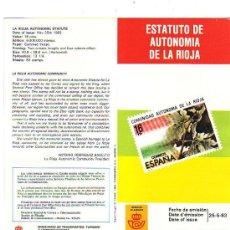 Sellos: ESTATUTO AUTONOMIA DE LA RIOJA INFORMACION 10/83 DIRECCION GENERAL CORREOS Y TELECOMUNICACIONES GMPM. Lote 210717331