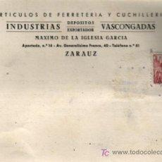 Sellos: CARTA COMERCIAL 1948 ZARAUZ A PAMPLONA INDUSTRIAS VASCONGADAS. Lote 22623686
