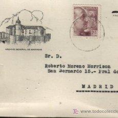 Sellos: TARJETA POSTAL ARCIVO GENERAL DE SIMANCAS VALLADOLID 1946 . Lote 23048973