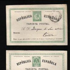 Sellos: TARJETA POSTAL 1ª REPÚBLICA ESPAÑOLA DE 5 CM. IDA Y VUELTA 1875 TUDELA MARQUES DE SAN ADRIÁN. Lote 22028253