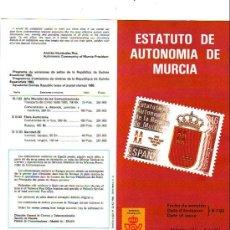 Sellos: ESTATUTO AUTONOMIA DE MURCIA INFORMACION 14/83 DIRECCION GENERAL CORREOS Y TELECOMUNICACIONES. GMPM. Lote 15455582
