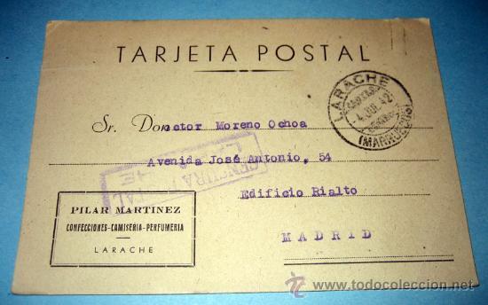 ANTIGUA TARJETA POSTAL - LARACHE MARRUECOS - CENSURA POSTAL SELLO NO MATASELLADO PROTECTORADO ESPAÑO (Sellos - España - Tarjetas)