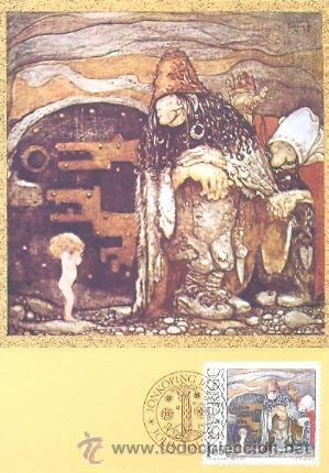 SUECIA, JOHN BAUER, ILUSTRADOR DE CUENTOS PARA NIÑOS, LOS TROLL, PRIMER DIA DEL 16-2-1982 (Sellos - Extranjero - Tarjetas Máximas)