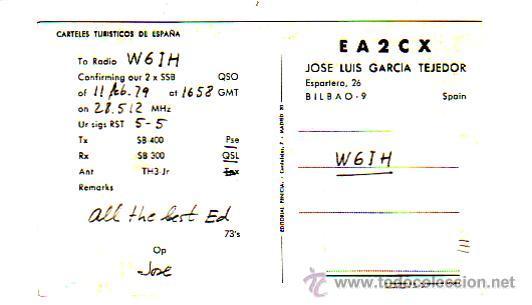 Sellos: TARJETA UNION RADIOAFICIONADOS ESPAÑOLES EA2CX DE BILBAO (VIZCAYA). CARTELES TURISTICOS ESPAÑA. MPM. - Foto 2 - 26243869