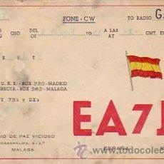 Sellos: TARJETA UNION RADIOAFICIONADOS ESPAÑOLES E A 7 J Z DE MALAGA. BONITA Y RARA ASI. MPM.. Lote 15253345