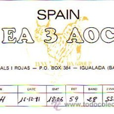 Sellos: TARJETA UNION RADIOAFICIONADOS ESPAÑOLES E A 3 A O C DE IGUALADA (BARCELONA) BONITA Y RARA. MPM.. Lote 15282537