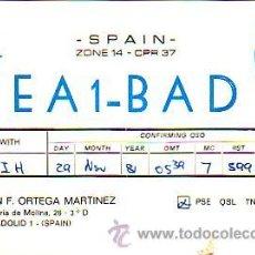 Sellos: TARJETA UNION RADIOAFICIONADOS ESPAÑOLES E A 1 - B A D DE VALLADOLID. BUHO. AVES. BONITA Y RARA. MPM. Lote 15629962