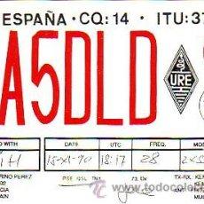 Sellos: TARJETA UNION RADIOAFICIONADOS ESPAÑOLES E A 5 D L D DE VALENCIA. BONITA Y RARA ASI. MPM.. Lote 15736652