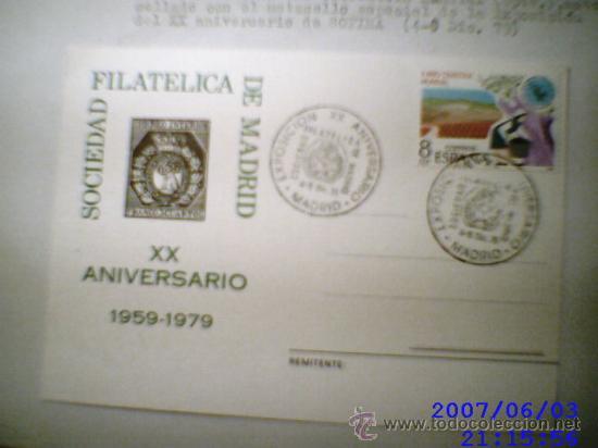 TARJETA POSTAL CONMEMORATIVA SOFIMA XX ANIVERSARIO 1959-1979 (Sellos - España - Tarjetas)
