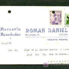 Sellos: LLEIDA. TP COMERCIAL *MERCERIA - NOVEDADES ROMAN DANIEL* CIRCULADA.. Lote 9193407
