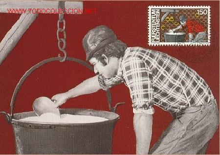 LIECHTENSTEIN - ECONOMIA DE LA LECHE: FABRICACION DE QUESO (Sellos - Extranjero - Tarjetas Máximas)