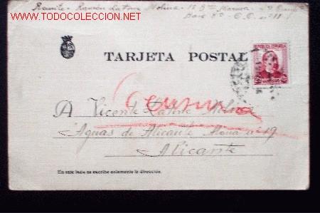 TARJETA POSTAL DE CAMPAÑA. CON CENSURA MANUSCRITA EN LAPIZ ROJO. CON SELLO MATASELLADO (Sellos - España - Tarjetas)