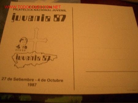 Sellos: TARJETA: JUVENIA 87 OVIEDO, X EXPOSICION FILATELICA NACIONAL JUVENIL - Foto 2 - 2028822