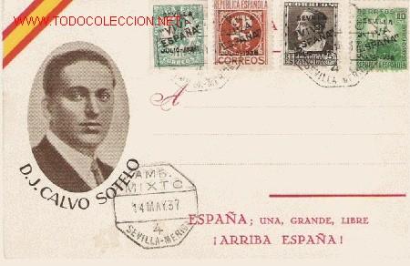 MAGNIFICA TARJETA DE CALVO SOTELO CIRCULADA CON CUATRO SELLOS SOBRECARGADOS DE SEVILLA (Sellos - España - Tarjetas)