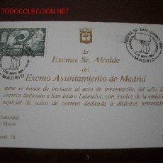 Sellos: TARJETA INVITACION PRESENTACION SELLO DEDICADO A SAN ISIDRO POR EL ALCALDE DEL AYUNTAMIENTO DE MADRI. Lote 26585612