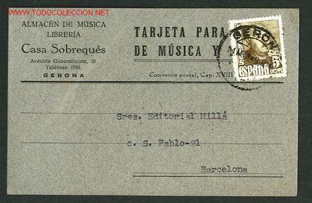 GIRONA. TARJETA COMERCIAL. 8,9X13,9 CMS. CIRCULADA (Sellos - España - Tarjetas)