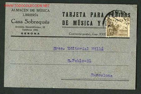 GIRONA. TARJETA COMERCIAL. 8,9X13,9 CMS. CIRCULADA. (Sellos - España - Tarjetas)