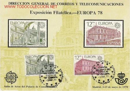 TARJETAS RECUERDO DE LA EXPOSICION DE EUROPA 78 (Sellos - España - Otros - Tarjetas)