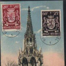 Sellos: POSTAL ANTIGUA : BRUXELLES - LAEKEN - MONUMENTO A LEOPOLD I - BELGICA. 1946. 2 SELLOS. Lote 25378407