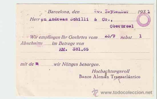 Sellos: Tarjeta comercial Barcelona - Alemania 1931 - Foto 2 - 13796122