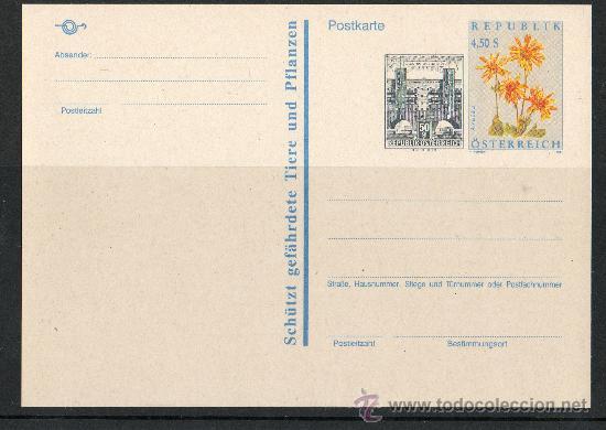 AUSTRIA AÑO 1992 - 2 TARJETAS ENTERO POSTAL - FLORA - NATURALEZA - ARQUITECTURA (Sellos - Extranjero - Tarjetas)