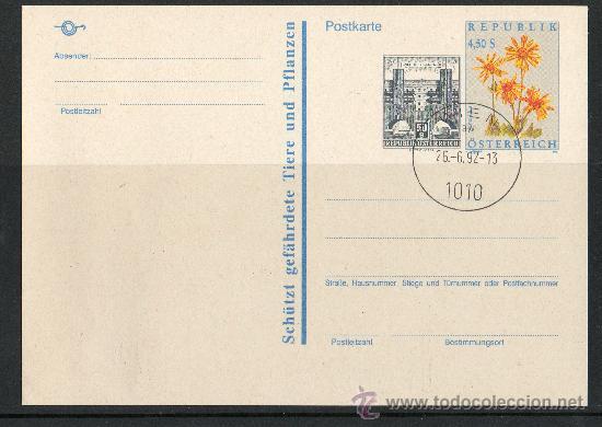 Sellos: AUSTRIA AÑO 1992 - 2 TARJETAS ENTERO POSTAL - FLORA - NATURALEZA - ARQUITECTURA - Foto 2 - 10118022