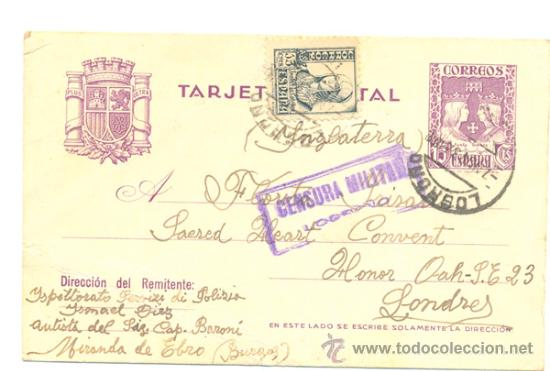 TARJETA POSTAL 1937 .. 8FF 15C. VIOLETA + 15 C. NEGRO ISABEL LA CATÓLICA (ED 120) ..CENSURA MILITAR (Sellos - España - Tarjetas)