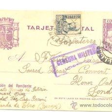 Sellos: TARJETA POSTAL 1937 .. 8FF 15C. VIOLETA + 15 C. NEGRO ISABEL LA CATÓLICA (ED 120) ..CENSURA MILITAR . Lote 17789015