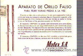 TARJETA COMERCIAL DE MATEX,SA DE BARCELONA -TEXTIL-PARA TEJER APEROS-CIRCULADA (Sellos - España - Tarjetas)