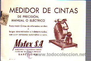 TARJETA COMERCIAL DE MATEX,SA DE BARCELONA -TEXTIL-MEDIDOR DE CINTAS-CIRCULADA (Sellos - España - Tarjetas)